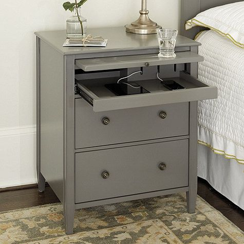 Sidney Side Table With Charging Station Side Tables Bedroom