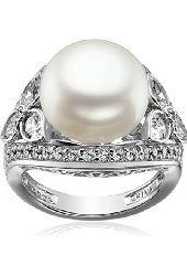Platinum-Plated Sterling Silver Cubic Zirconia Vintage Freshwater Pearl Cocktail Ring