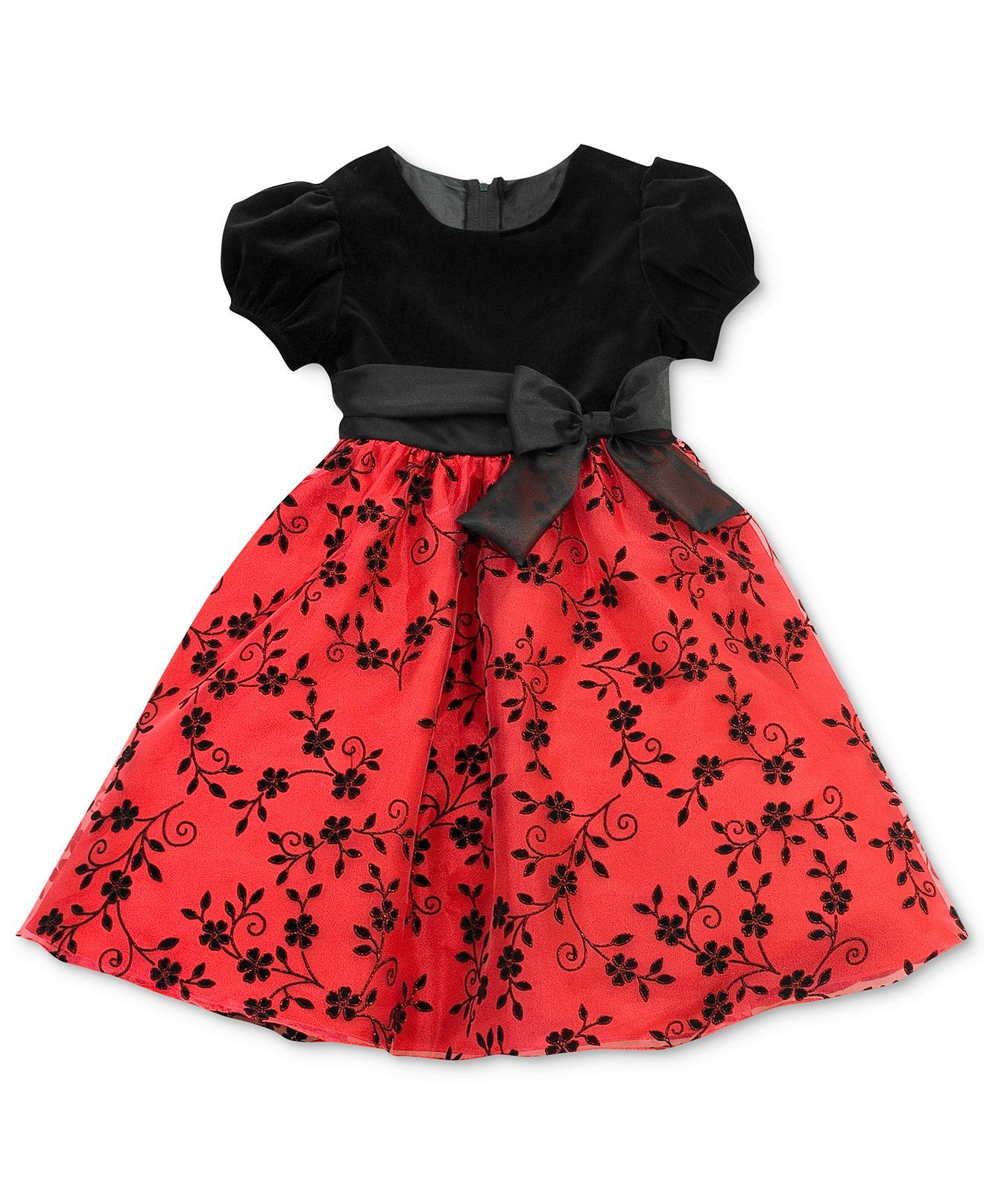 Rare Editions Girls Dress Little Girls Velvet Flocked Holiday Dress