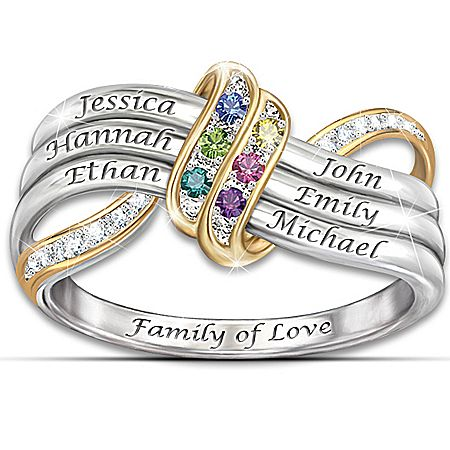 our family 39 s forever love name engraved birthstone ring. Black Bedroom Furniture Sets. Home Design Ideas