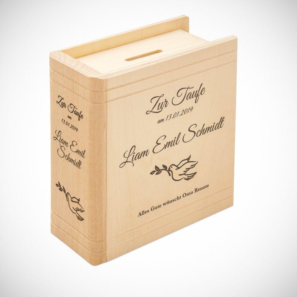 Spardose Buch aus Holz mit Gravur zur Taufe