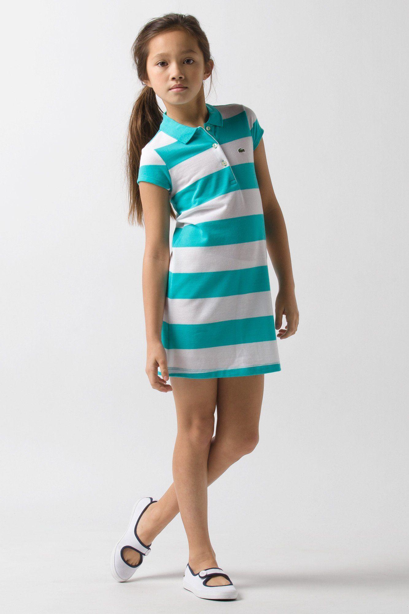 8ed791cd48802 Lacoste girls short sleeve stripe pique  dress