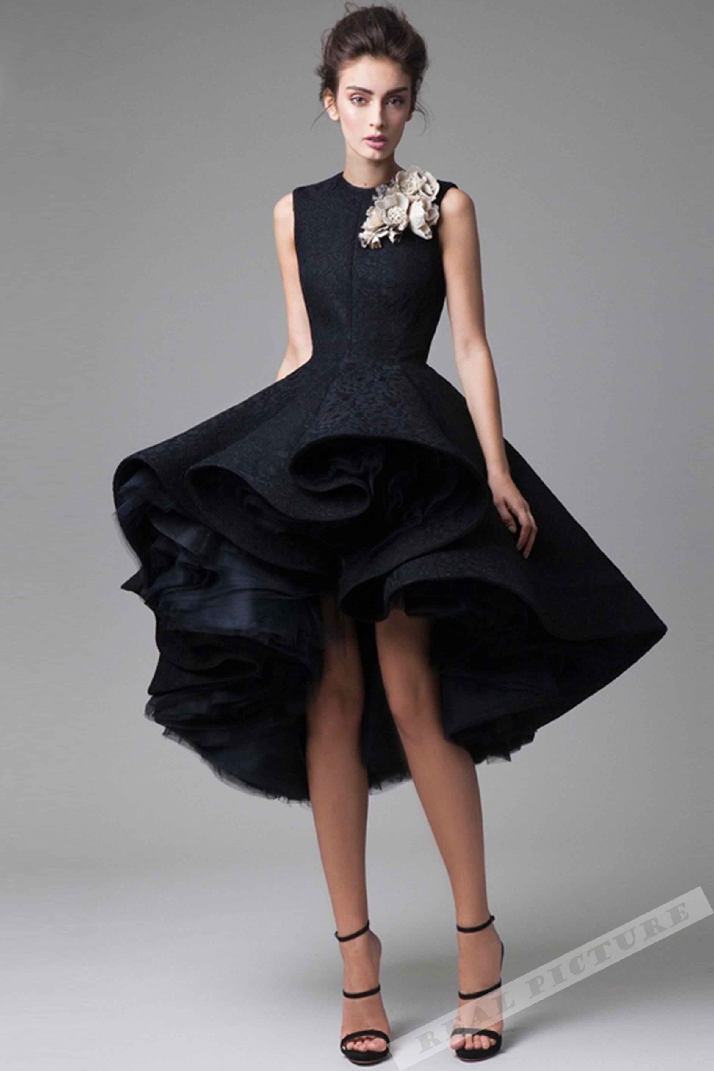 Black tulle lace satin round neck highlow aline short prom dres
