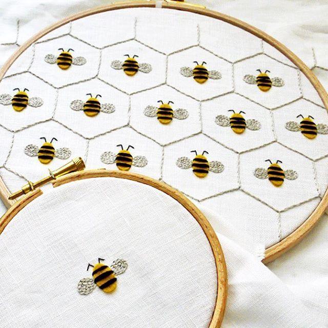 ちびっこ蜂さん。 初めて刺繍した蜂は12cm程の可愛げのない大きいもの ...