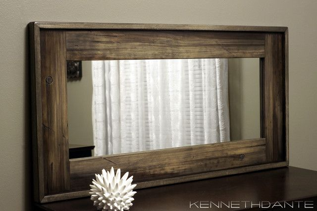 Rustic Wood Framed Mirror Large