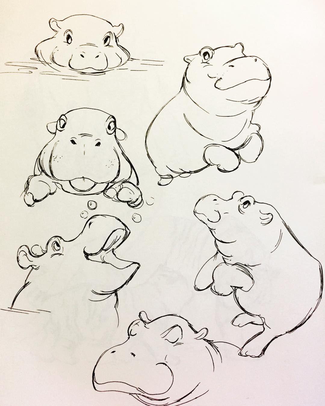 baby hippos #art #animals #nohippoemojismh #sketch #babyhippo