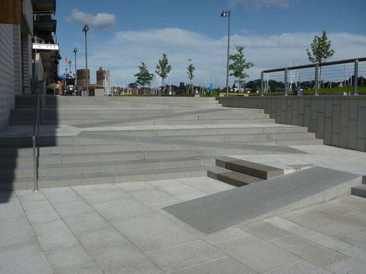 creative ramp stairs  public park in tjuvholmen  oslo norway