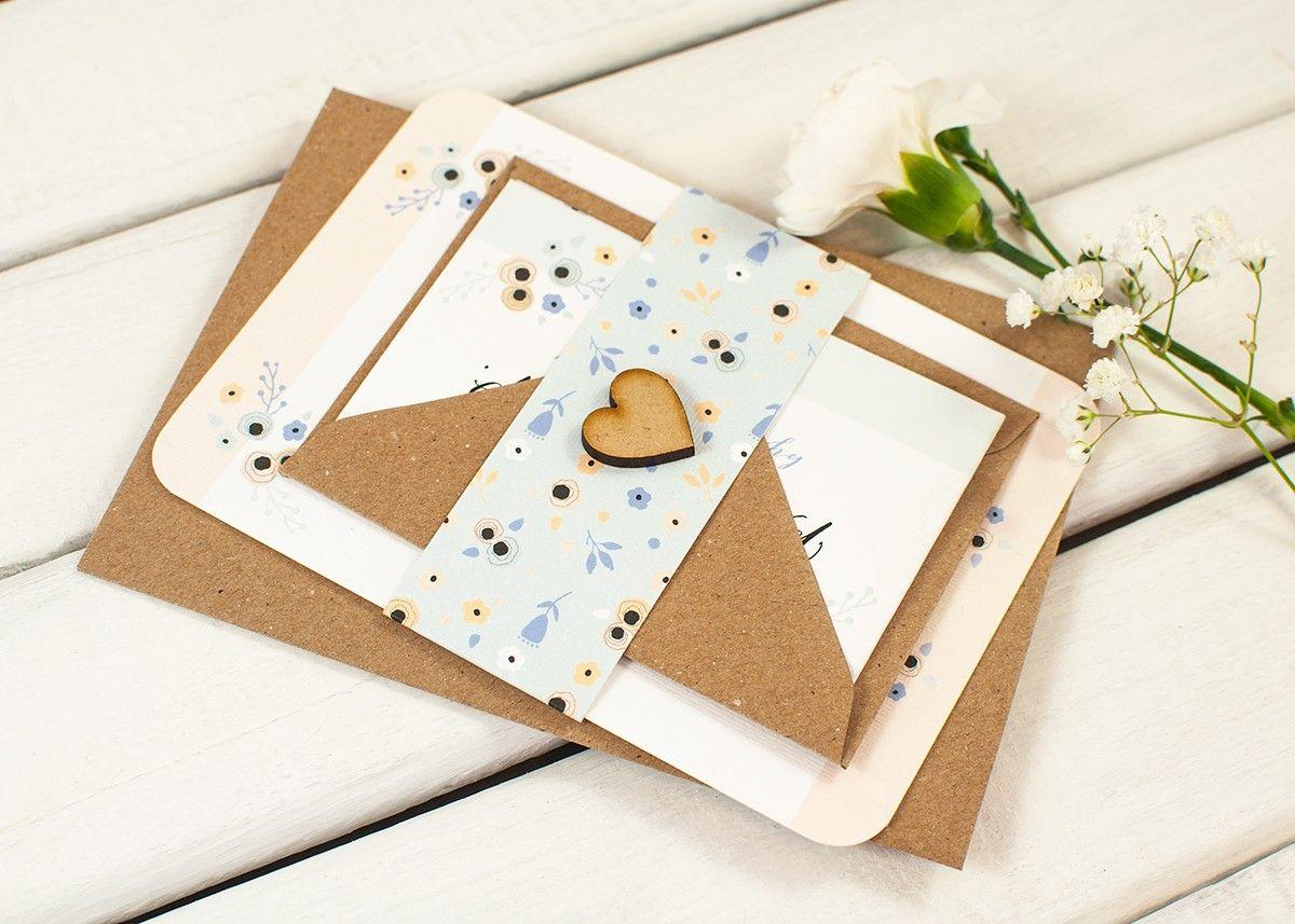 Floral Peach and Cornflower Blue Wedding Invitation Bundle | Rsvp ...