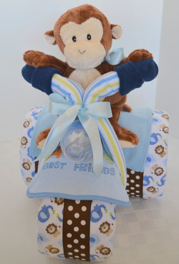 Diaper Cake,Tricycle, Trike, Baby Shower Gift ,Jungle, Monkey, Safari, Baby Boy,Centerpiece