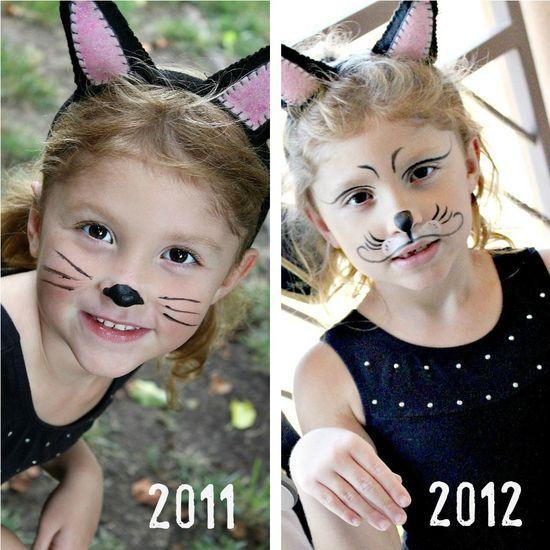 Halloween Party Costume Birthday Kitty Top Boys Girls Kids Cat Face T Shirt