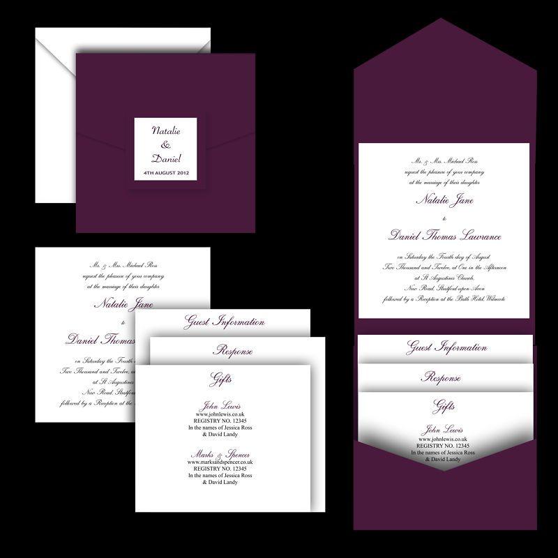 50 Blank Aubergine Pocketfold Pocket Fold Wedding Invitations Stationery