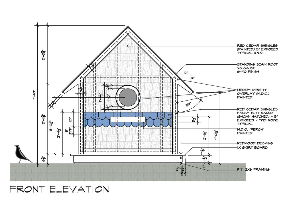 Building Elevation Plan Part - 21: Birdhouse Drawings Front Elevation Design By Dallas Architect Bob Borson