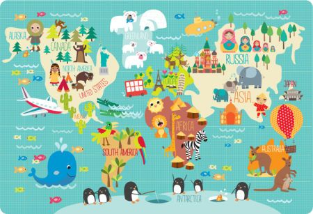 Martina Hogan Childrens World Map AYK Heaven Pinterest - Kids world map poster