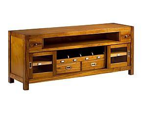 Mueble de TV en madera de mindi con 2 cajones Star