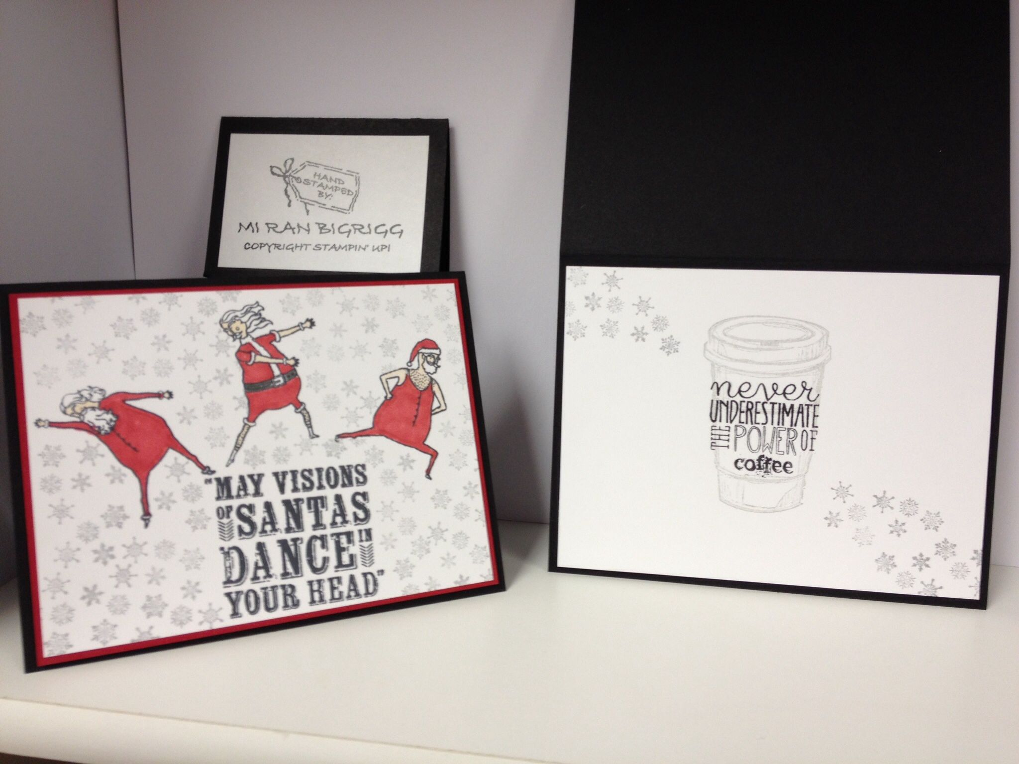 Stampin' Up! Visions of Santa SS: Visions of Santa; Perfect Blends; Yippee Skippee.   CS: Whisper White; Real Red; Basic Black;   INK:  Momento; Encore Silver; Smoky Slate; OTHER Dimensionals