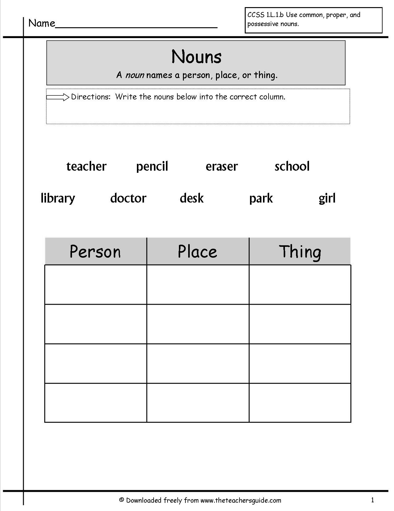 Noun Work Sheets