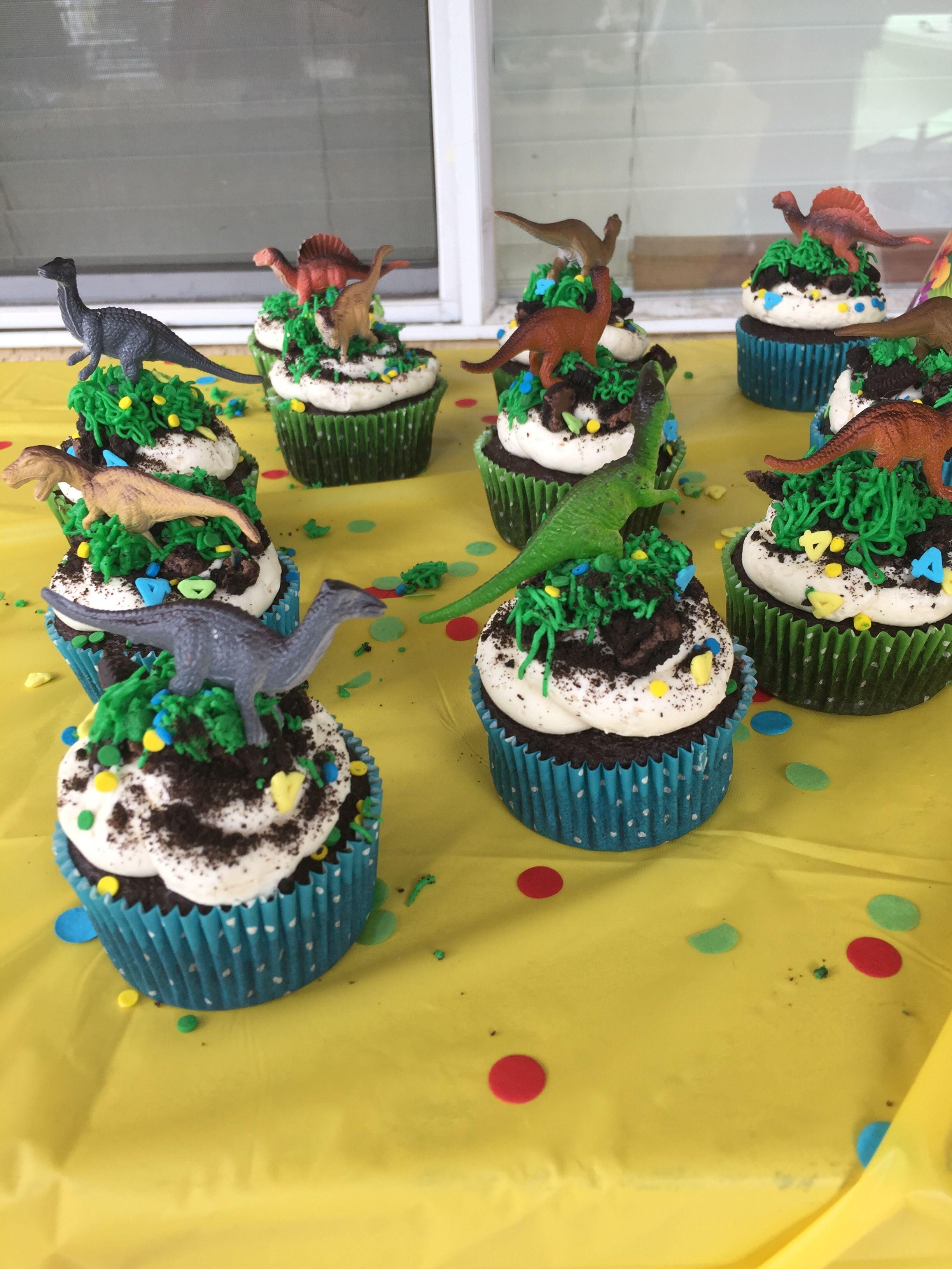 Enjoyable Dinosaur Cupcakes Kids Birthday Cupcakes Dinosaur Birthday Funny Birthday Cards Online Ioscodamsfinfo