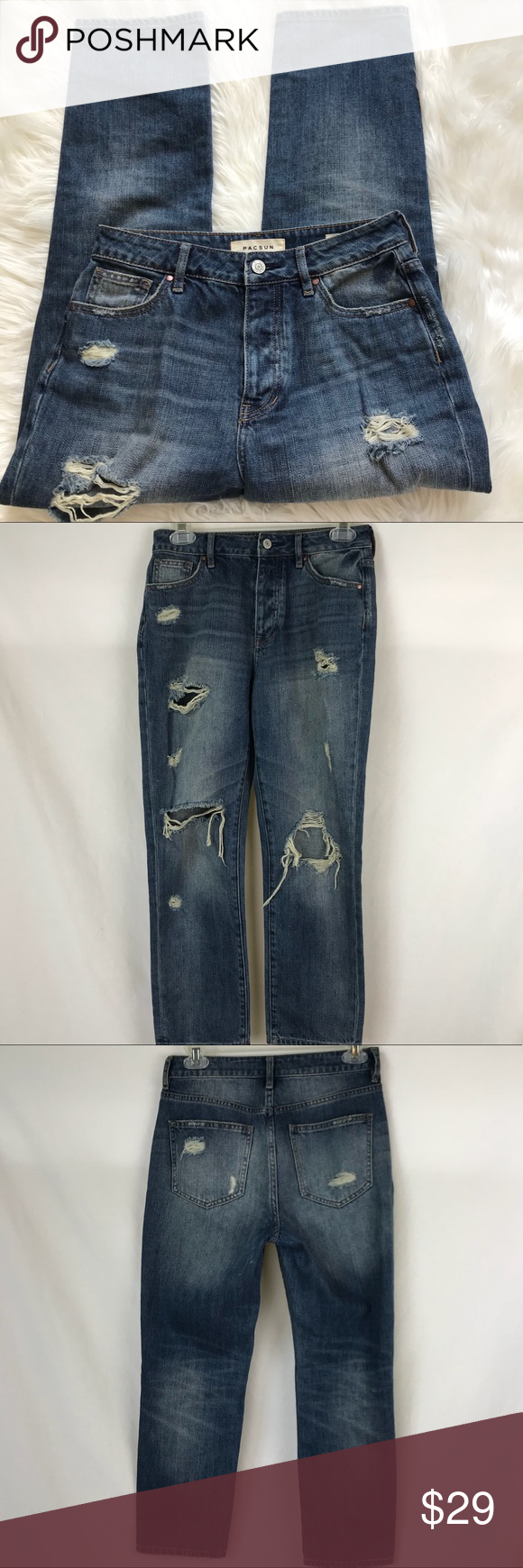 Pacsun Mom Jean Destroyed medium wash PacSun Mom Jeans size
