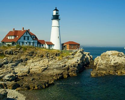 One of the many beautiful Light Houses in Maine.  This is the Portland Head Light lighthouse.