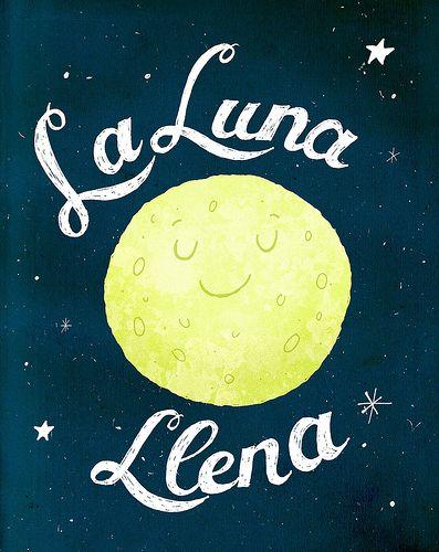 Cute La Luna Llena By Redcoulter Moon Illustration Custom Wall Art Illustration