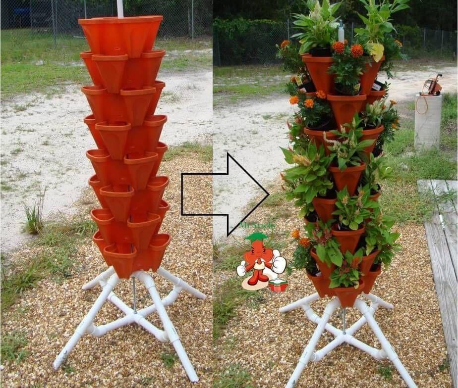 20 Vertical Vegetable Garden Ideas: A Column Of Flowers For An Original Decoration! 20 Ideas