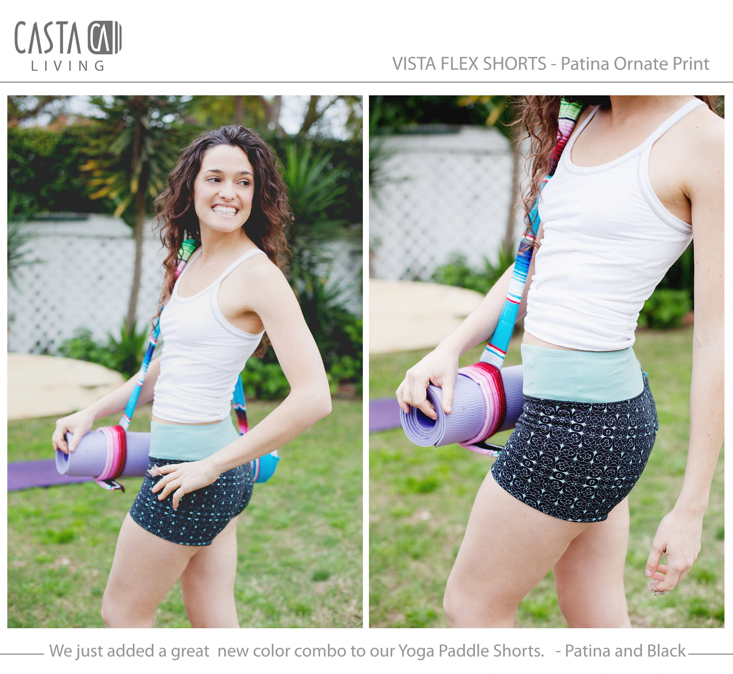 Yoga shorts for indoors or outdoors. This is a new color for us and Erin is loving them as much as you will. $48 at www.castaliving.com #yoga #clothing #castaliving #california