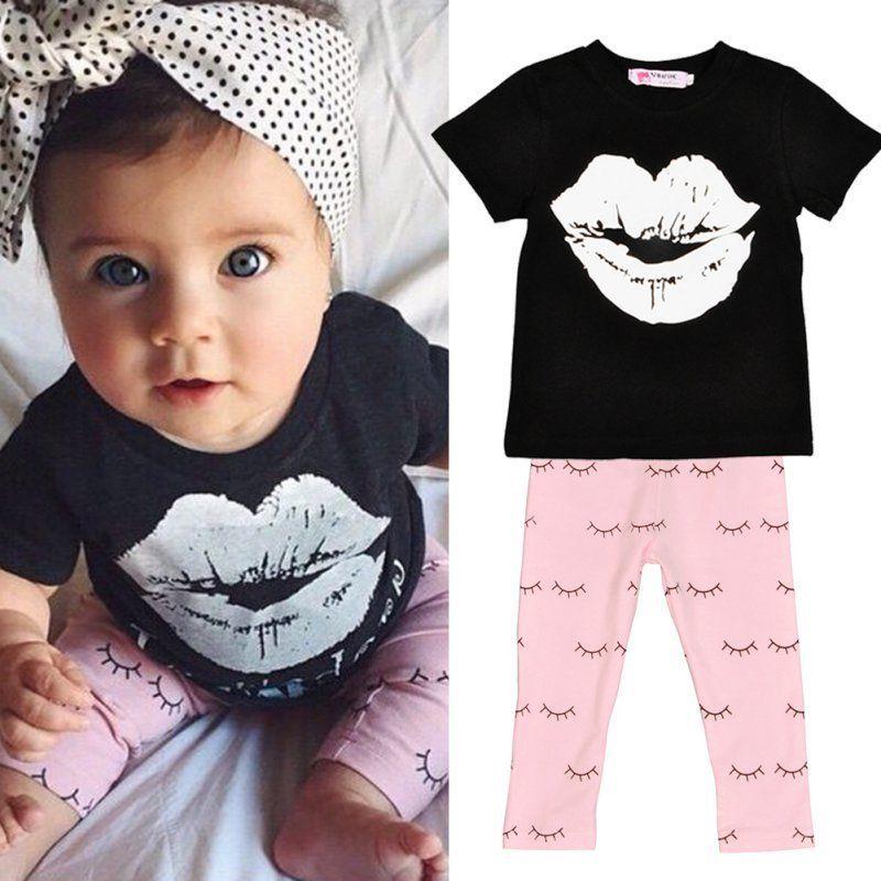 e51234bca Newborn Baby Boys Girls Short Sleeve T-shirt Tops+Pants Outfit 2pcs ...
