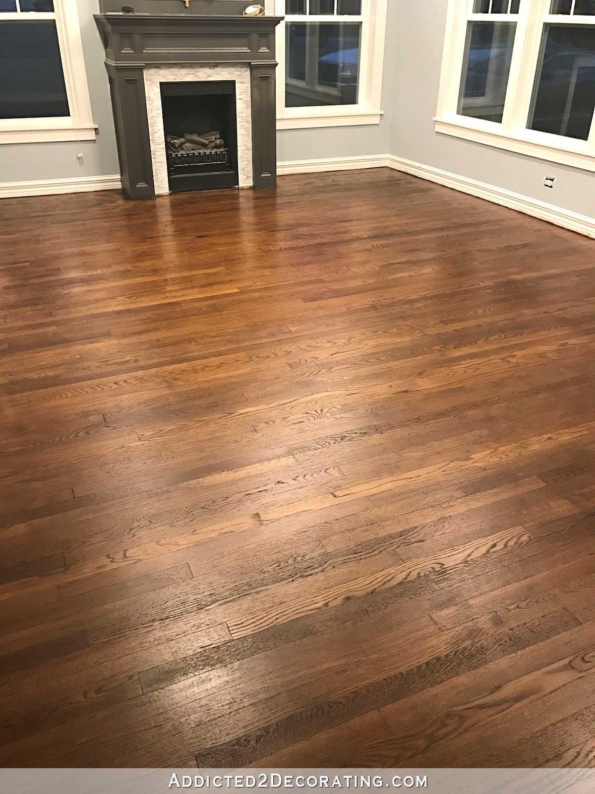 Refinishing Red Oak Hardwood Floors Adding Stain To First Coat Of Polyurethane To Refinishing Hardwood Floors Wood Floor Stain Colors Red Oak Hardwood Floors