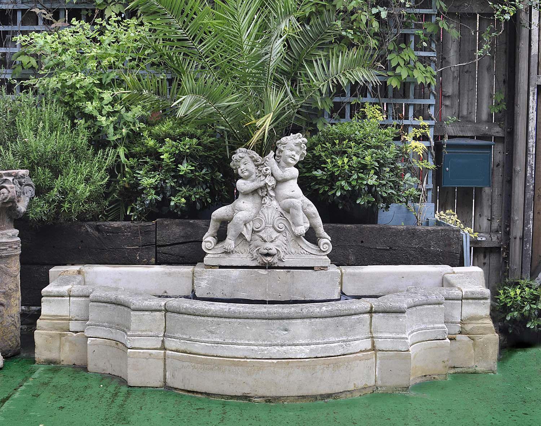Antique semi circular stone italian baroque fountain for Garden fountains