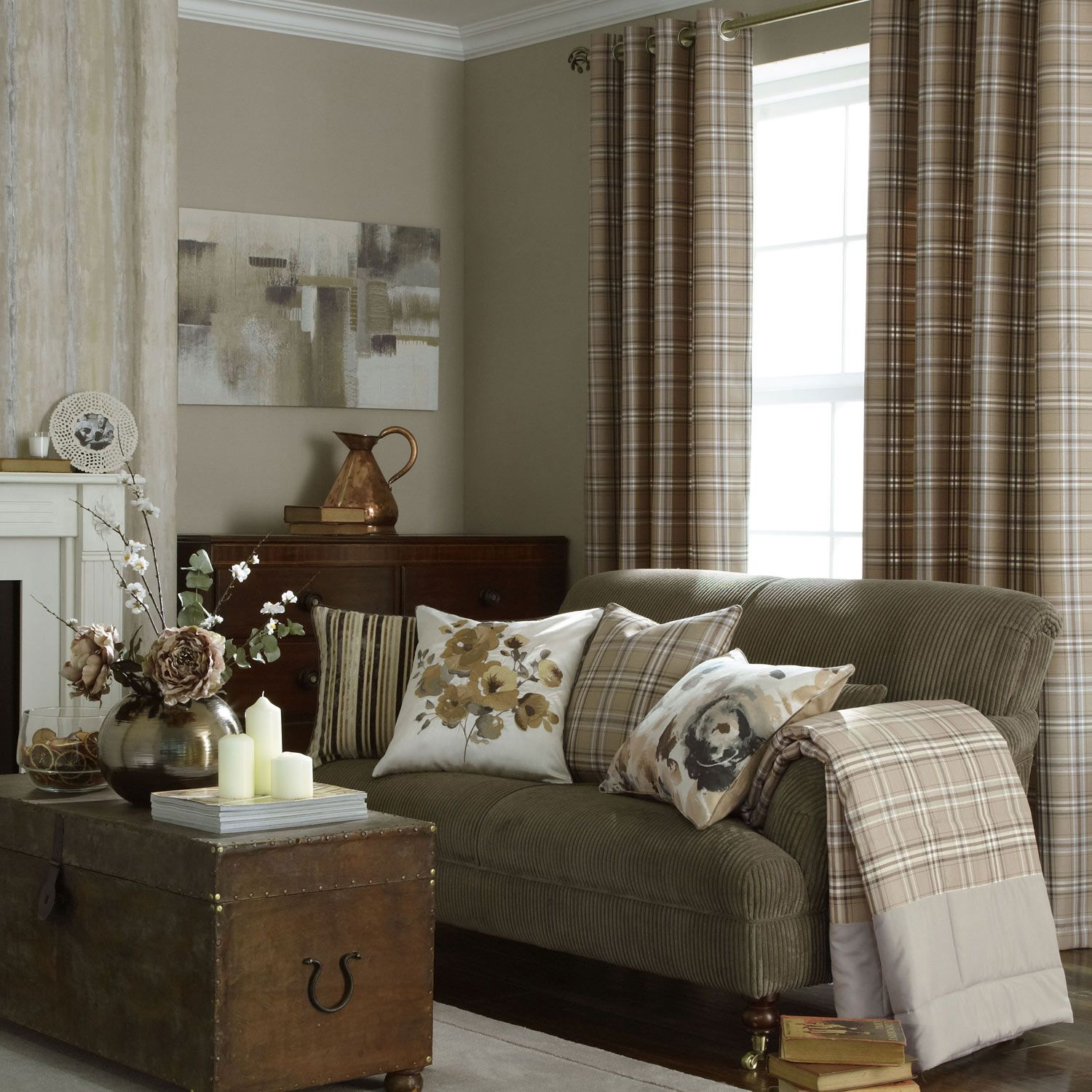 23 Best Beige Living Room Design Ideas For 2020: ILiv Piazza Cerato Tartan Check Eyelet Curtains