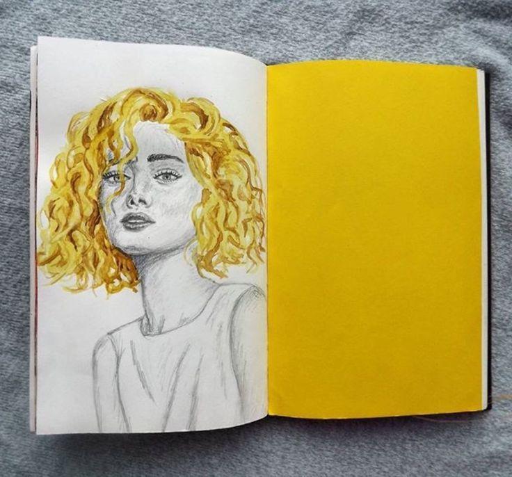 Kunst, Zeitschrift, Kunsthacke, gelbe Ästhetik, Zeichnung, Ästhetik, Tumblr #artjournalinspiration