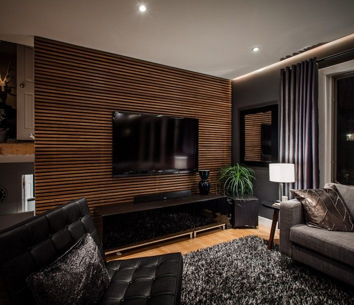 lcd tv mounted featured wood slat back wall design ideas on incredible tv wall design ideas for living room decor layouts of tv models id=85944