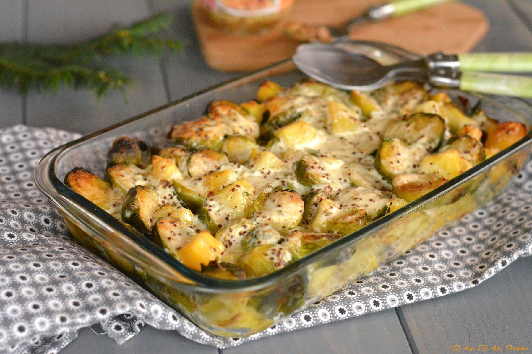 Gratin de choux de Bruxelles & pommes de terre à la moutarde - Au Fil du Thym