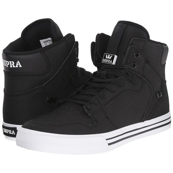 Supra Vaider (Black/White) Skate Shoes (325 BRL) ❤ liked on