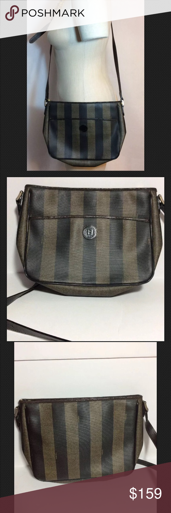 313549d72f0b Vintage FENDI Pequin Striped Brown Crossbody Bag Vintage FENDI Pequin  Striped Brown Crossbody Italian Handbag Well