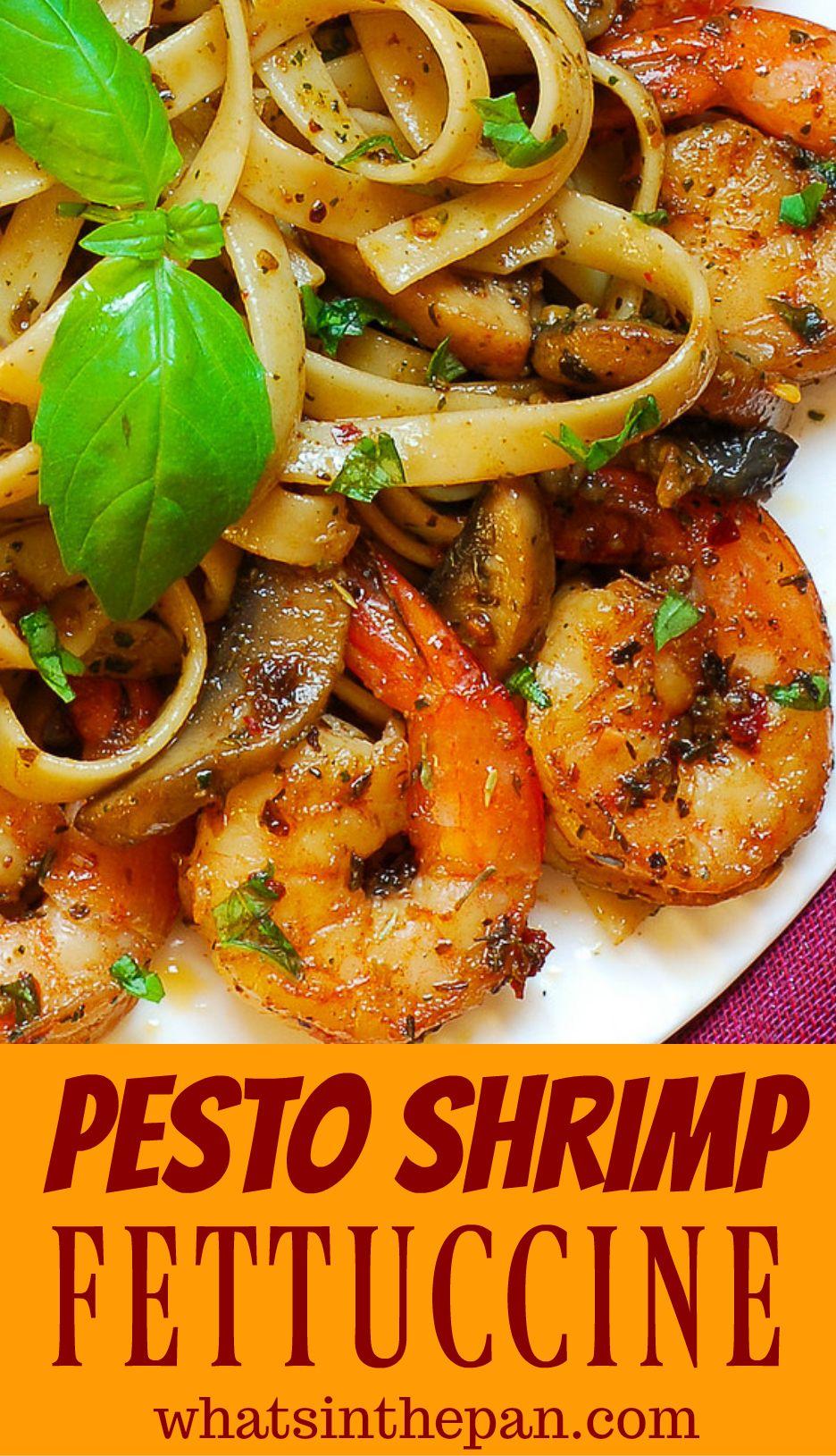 Pesto Shrimp Fettuccine #shrimpfettuccine