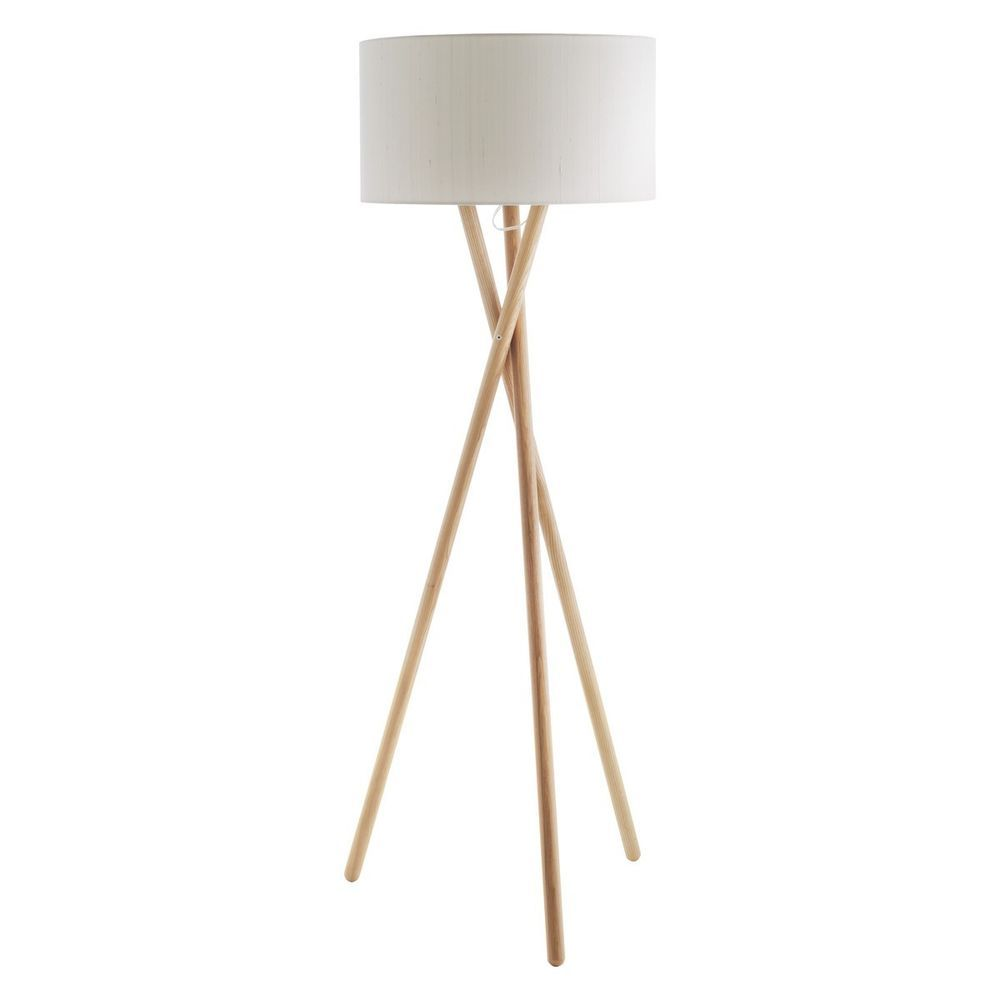Habitat Lansbury Tripod Wooden Floor Lamp With HABITAT White Drum Silk Shade