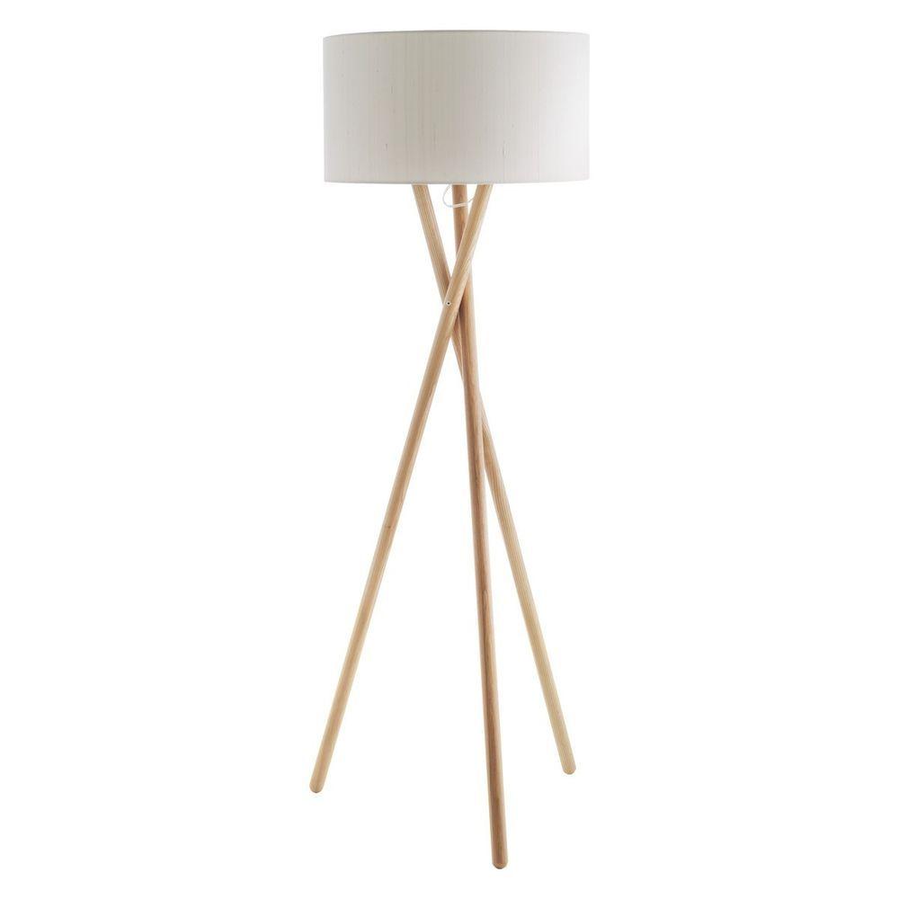Habitat lansbury tripod wooden floor lamp with habitat white drum habitat lansbury tripod wooden floor lamp with habitat white drum silk shade aloadofball Choice Image