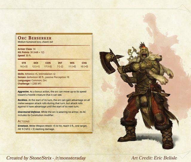 Orc Berserker in 2019 | 5e DM | Dnd 5e homebrew, Dungeons, dragons
