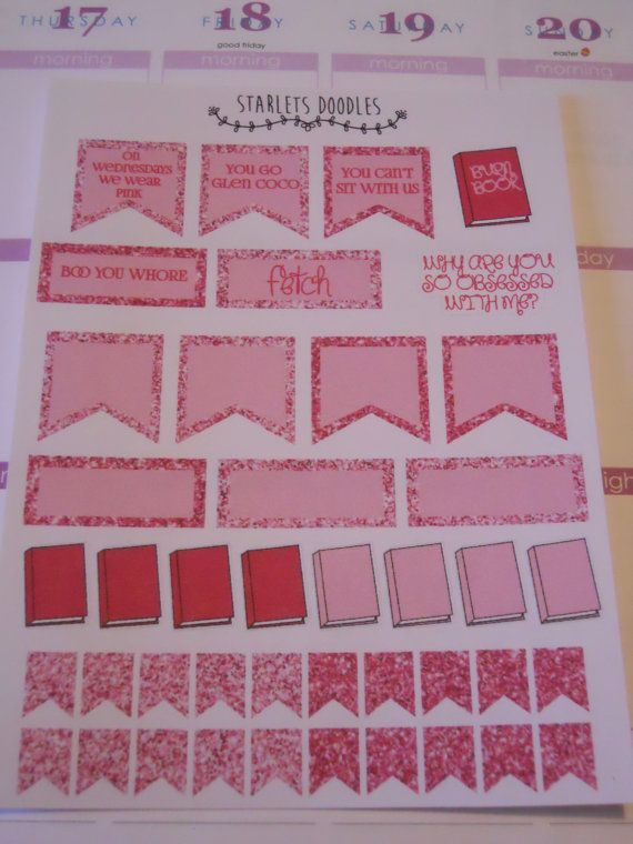 Mean Girls Planner Sticker Kit. Perfect for your Erin Condren Life Planner or Plum Paper Planner.