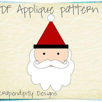 Santa Applique Pattern - Christmas Applique Template PDF / Kids ... : kids christmas quilts - Adamdwight.com