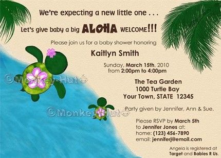 17 best images about baby shower luau on pinterest | about to pop, Baby shower invitations
