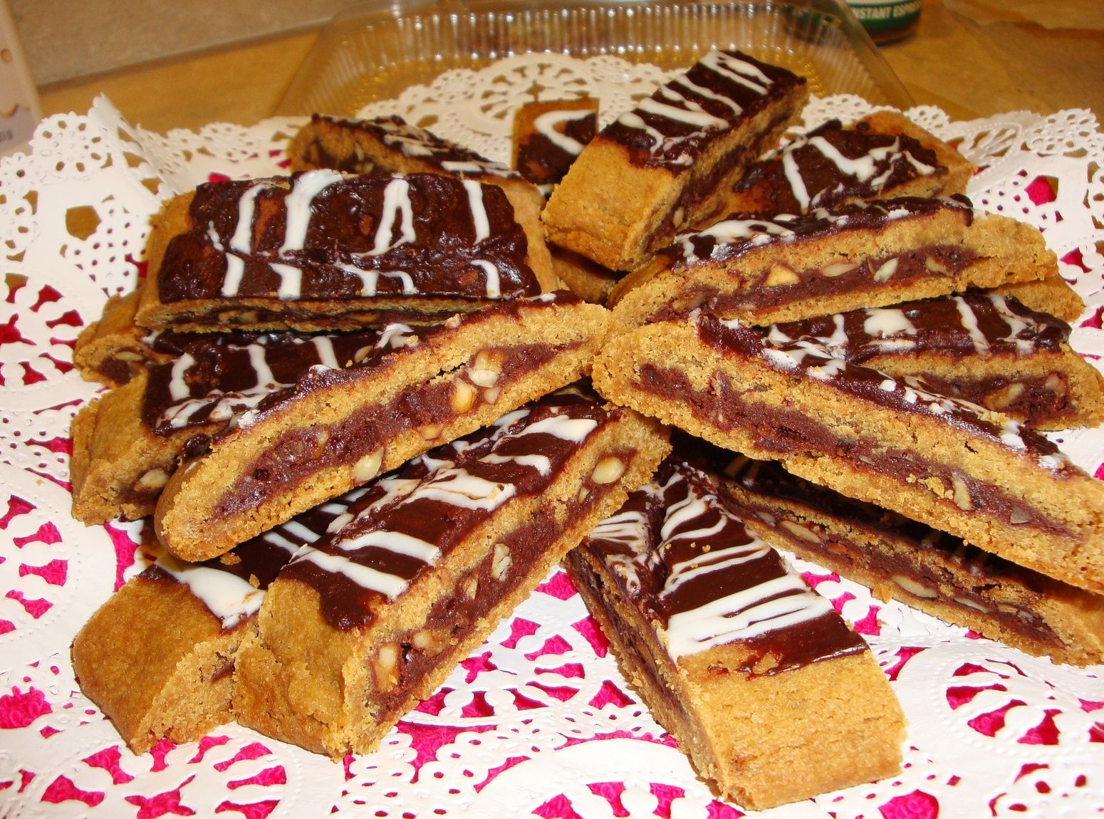 Hazies - chocolate hazlenut filled cookie bars.  Won Grand Prize in Just a Pinch's Cookie Celebration constest!