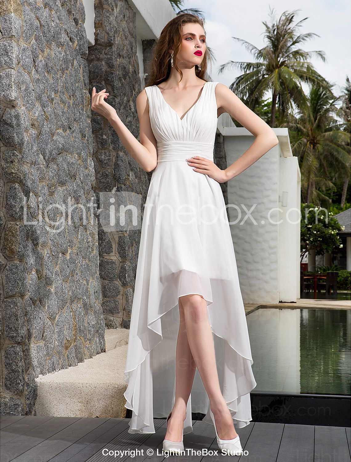 Aline v neck asymmetrical georgette madetomeasure wedding dresses