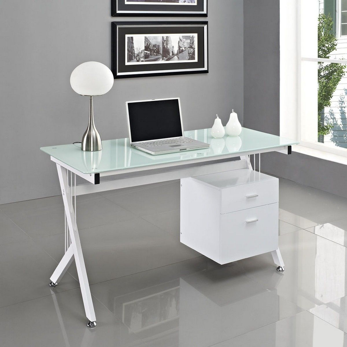 White glass computer desk pc table home office Designer glass computer desk