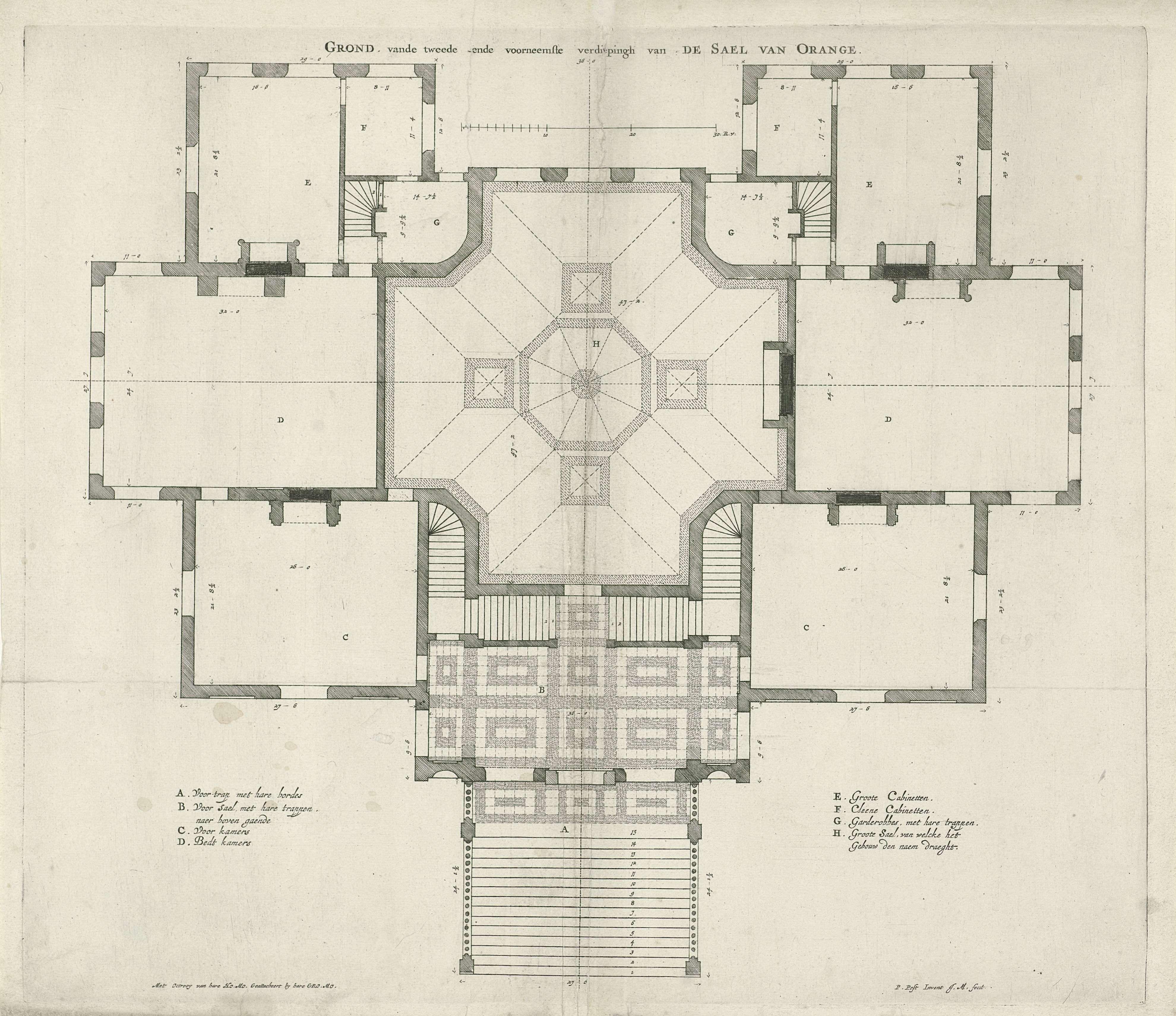 Jan Matthysz. | Voornaamste verdieping met de Oranjezaal van Paleis Huis ten Bosch, Jan Matthysz., 1655 | Plattegrond van de voornaamste verdieping van Paleis Huis ten Bosch te Den Haag met in het midden de Oranje Zaal. Links- en rechtsonder een legenda.