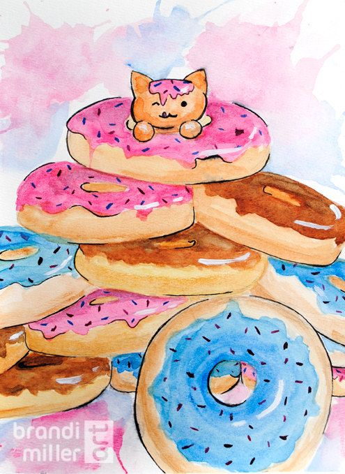 Donut Cat: Colorful watercolor painting of a kitten in a pile of sprinkled donuts by Brandi Miller Art, $35.00