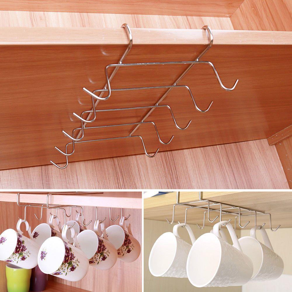 Under Shelf Coffee Cup Mug Holder For Kitchen Hanger Storage Rack Cabinet Hook Ebay Mug Storage Coffee Mug Storage Diy Storage Ideas For Small Bedrooms