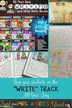 """This Year Long Writing Bundle is everything you need to keep your students on the """"WRITE"""" track for the entire year!  Never scramble for another journal topic again with these engaging writing prompts and word work activities!  Take a look to see what other teachers have to say about this baby!"""