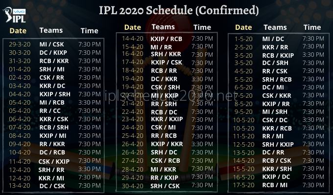 Ipl Schedule 2020 Indian Premium League 13 Fixtures Time Table Pdf Download In 2020 Ipl Cute Boys Images Hd Wallpaper Android